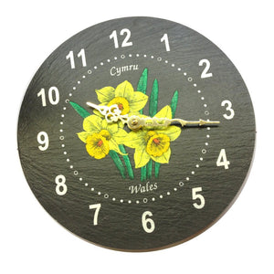 Welsh Slate Hand Painted Daffodils Wall Clock