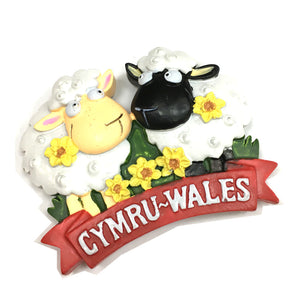Wales Twin Sheep Cast Resin Fridge Magnet [wm659]