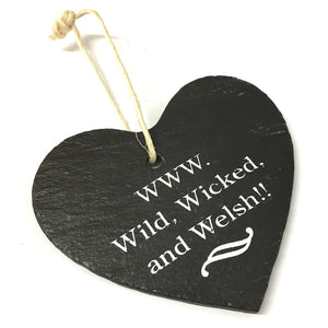 Wild Wicked Welsh 9cm Rustic Riven Slate Heart Hanging Plaque
