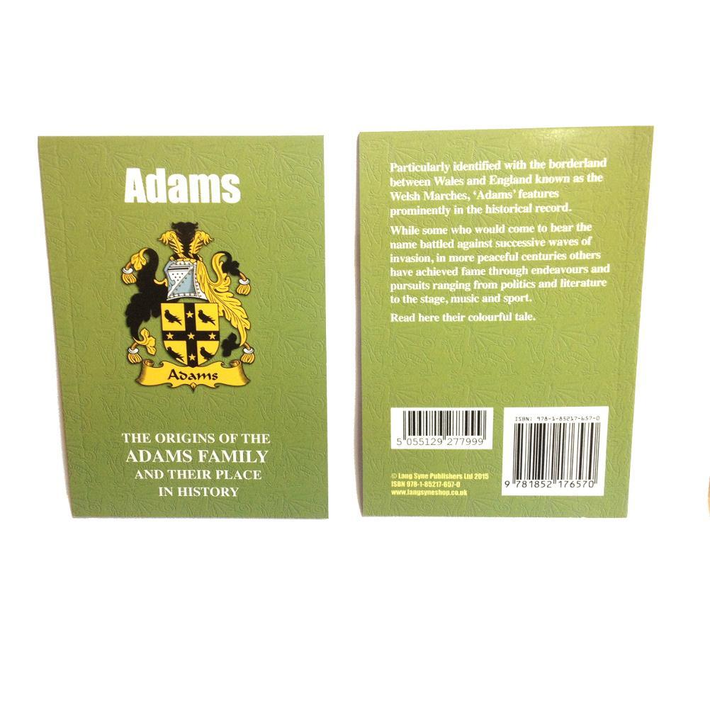 Adams Family Surname Origins and History Pocketbook