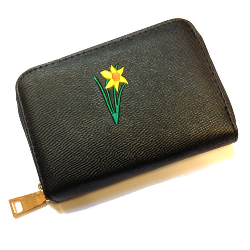 Wales Welsh Embroidered Daffodil Purse [aj1502black]