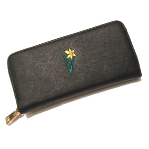 Wales Welsh Embroidered Daffodil Large Purse [aj1503black]