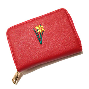 Wales Welsh Embroidered Daffodil Purse [aj1502red]