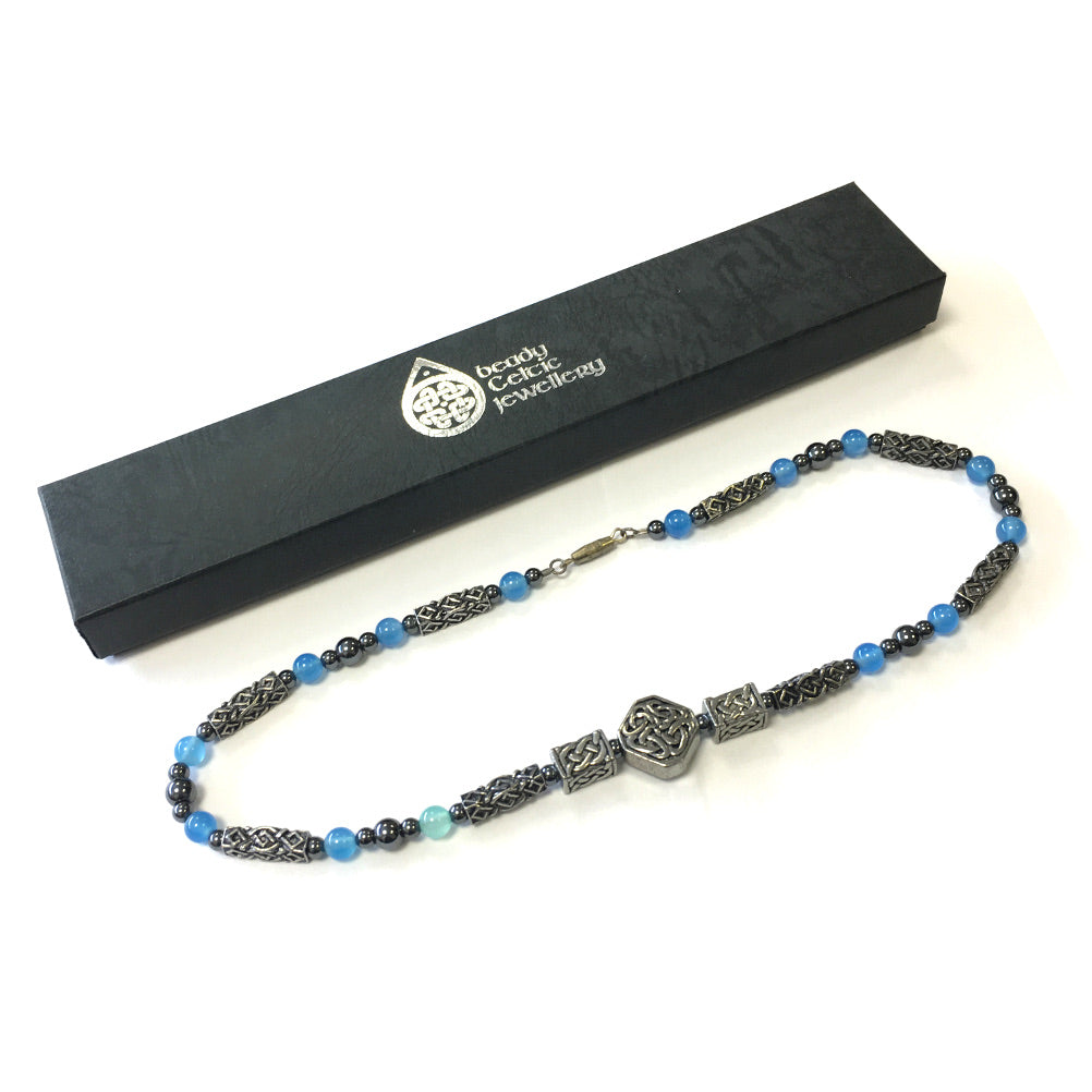 Beady Celtic Cwtch BLUE ONYX Necklace