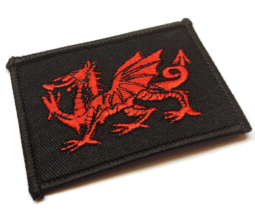Red Dragon Black Oblong Embroidered Patch Badge [wb127]
