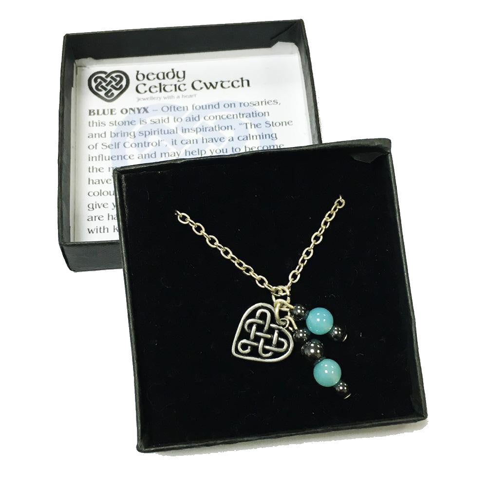 Beady Celtic Cwtch BLUE ONYX Pendant & Chain