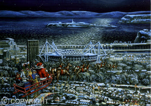 Bilingual Welsh Christmas Card by John Upton : Cardiff Christmas