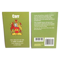Carr Family Surname Origins and History Pocketbook