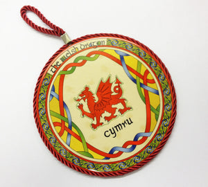 Celtic Weave Welsh Dragon Ceramic Pot Stand Wall Plaque