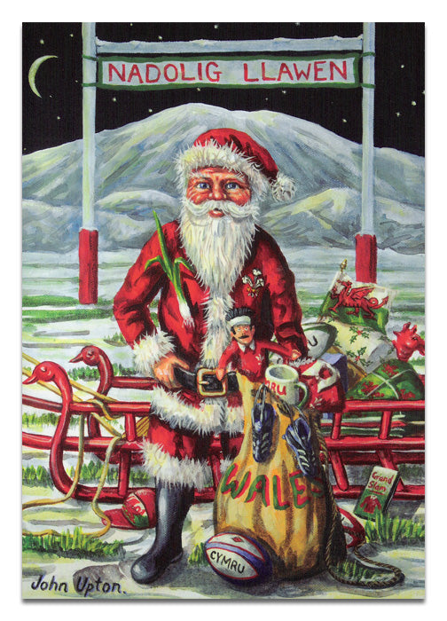 Bilingual Welsh Christmas Card by John Upton : Christmas Between The Posts