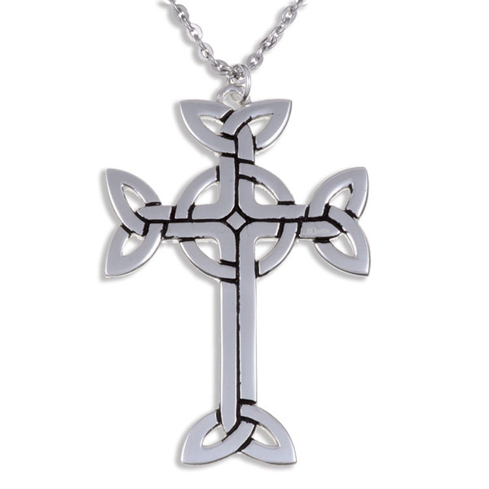 St Justin 7cm Clonmacnois Cross Polished Pewter Pendant & Chain [lrg-xp22]