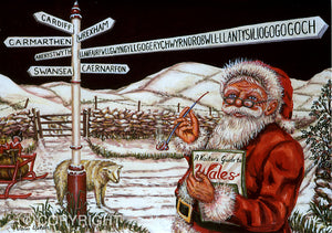 Bilingual Welsh Christmas Card by John Upton : Crossroads