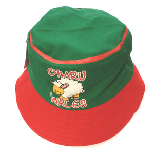 Wales Cymru Cartoon Sheep Childs Beach Bucket Hat [wa170]