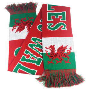 Cymru Wales Red Knitted Acrylic Wool Supporter Scarf [wa162]