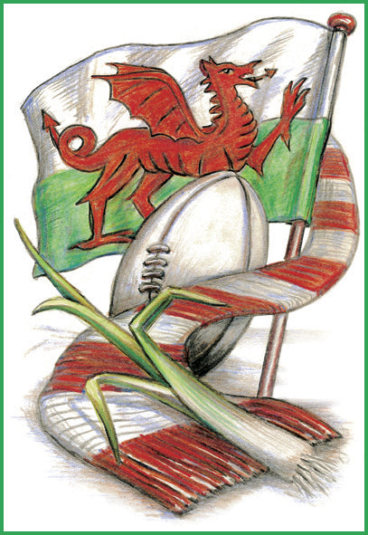 Welsh Flag, Scarf & Ball Welsh Greetings Card [002]