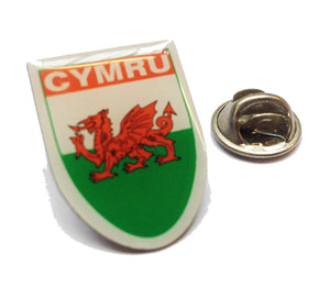 Cymru Welsh Flag Shield Pin Badge (ref:es)