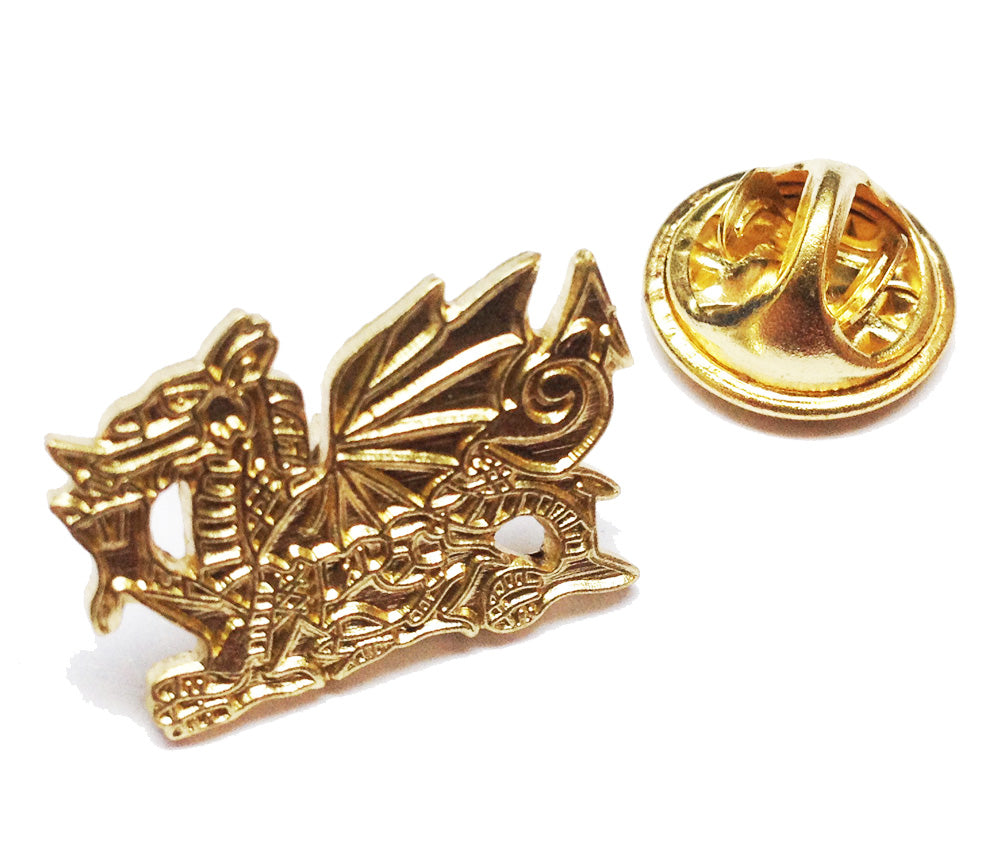 Wales Welsh Dragon Gilt Pin Badge [wb119]