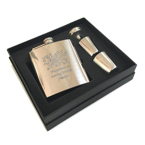 Wales Happiness is Having Welsh Friends Etched Hipflask Set