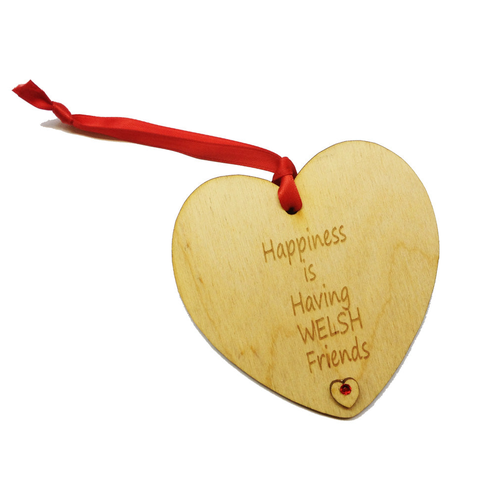 Happiness Welsh Friends Laser Etched Heart-Shaped Hanging Plaque