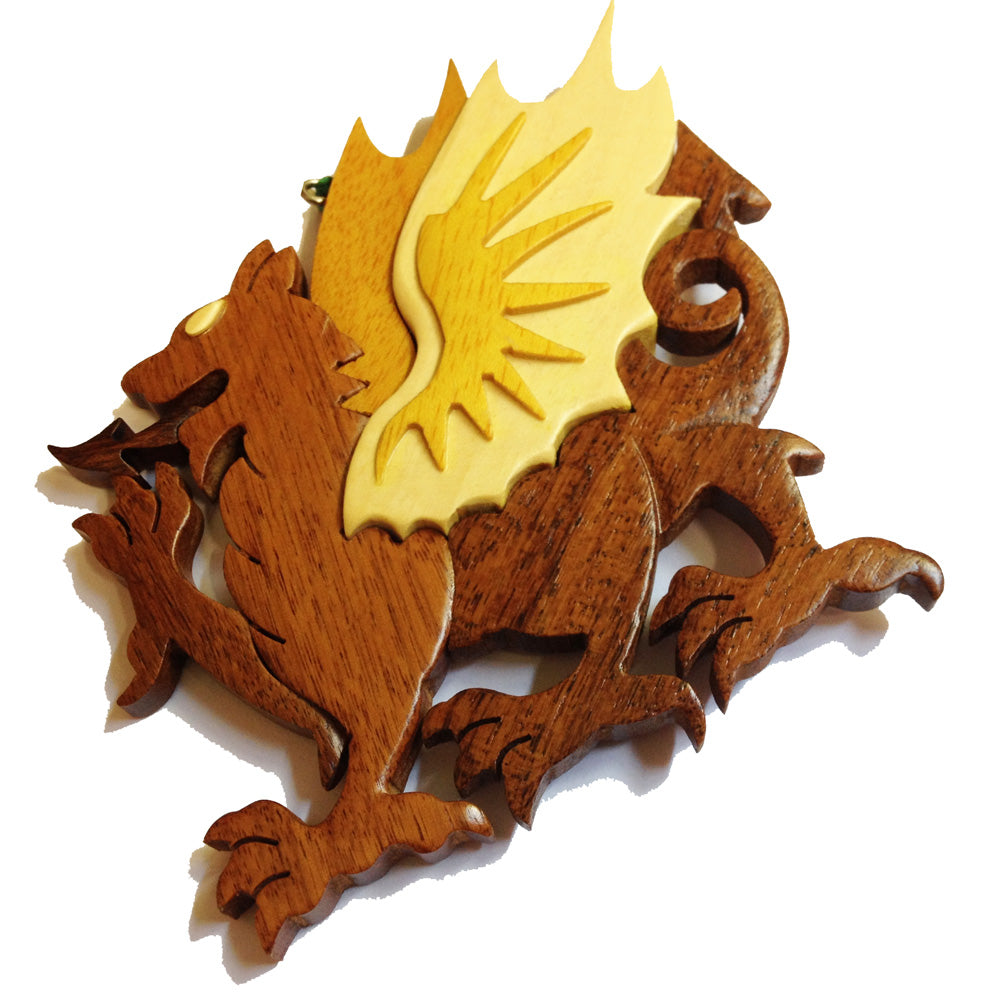 Wales Dragon Carved Wooden Hanging Ornament