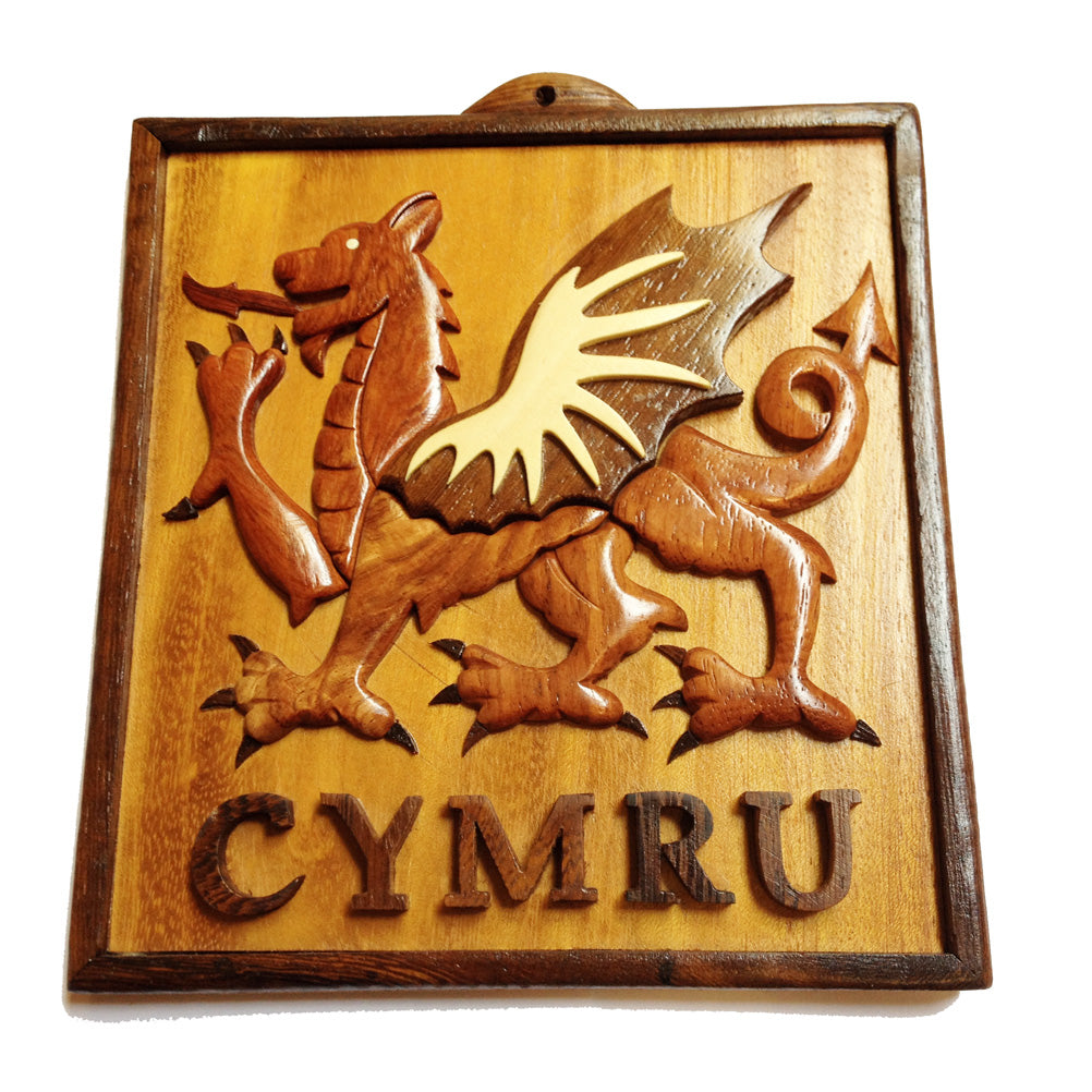 Welsh Dragon Wooden Wall Plaque