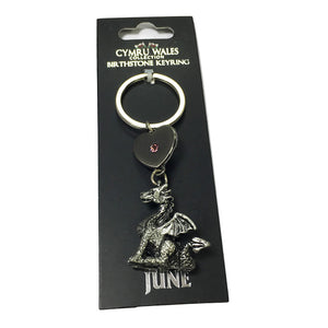 Pewter Wales Dragon Birthstone Keyring