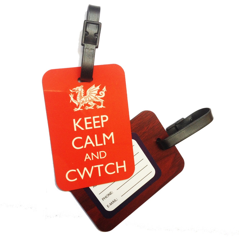 Keep Calm & Cwtch Welsh Dialect Laminated Board Luggage Tag [wx275]