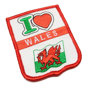 I Love Wales Flag Embroidered Patch Badge