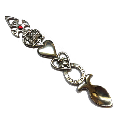 Horseshoe & Celtic Cross w/gem Polished Pewter Lovespoon