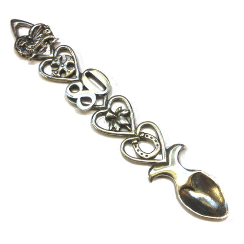 80th Birthday / Anniversary Polished Pewter Lovespoon