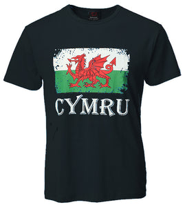 Distressed Welsh Flag Cymru T-Shirt [black]