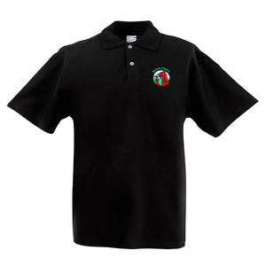 Wales Dragonhead Embroidered Motif Black Polo Shirt [mk]