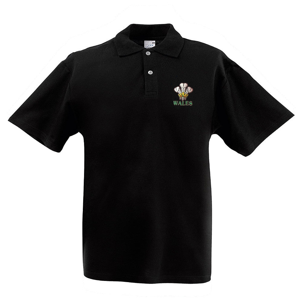 Embroidered Wales Feathers Black Polo Shirt [mk]