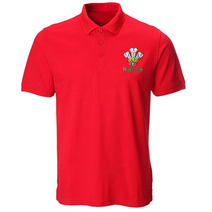 Embroidered Wales Feathers Red Polo Shirt [mk]