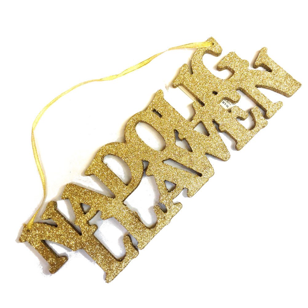 Nadolig Llawen Hanging Cut Out Sign (gold)[WX262g]