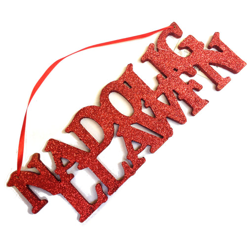 Nadolig Llawen Hanging Cut Out Sign (red)[WX262r]