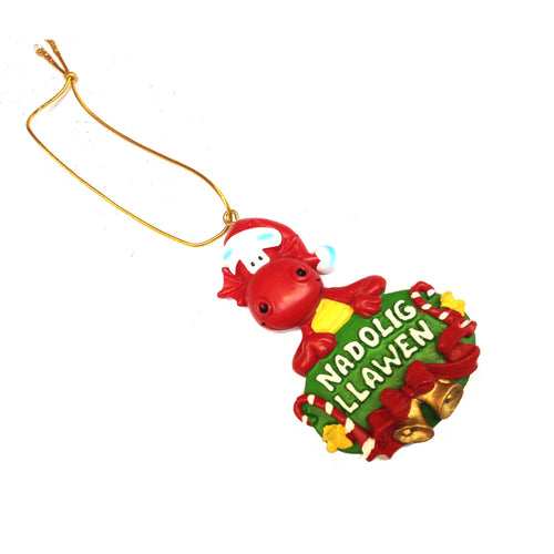Nadolig Llawen Cute Dragon Resin Christmas Hanger [wg418]