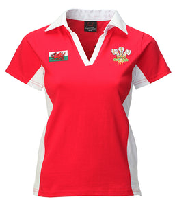 Wales Contrast Short Sleeve Ladies Rugby Shirt [red]