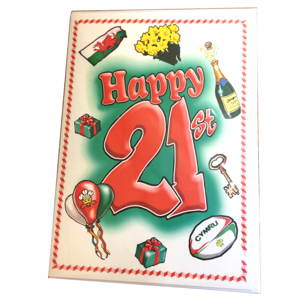 Nix Welsh Themes 21st Birthday Card []