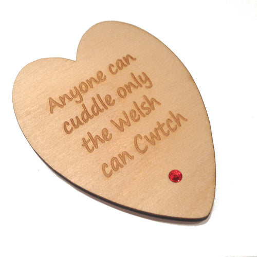 Only Welsh Cwtch Laser Etched Heart-Shaped Fridge Magnet