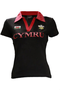 Wales Classic Cut Ladies Short Sleeve Rugby Shirt [blk]