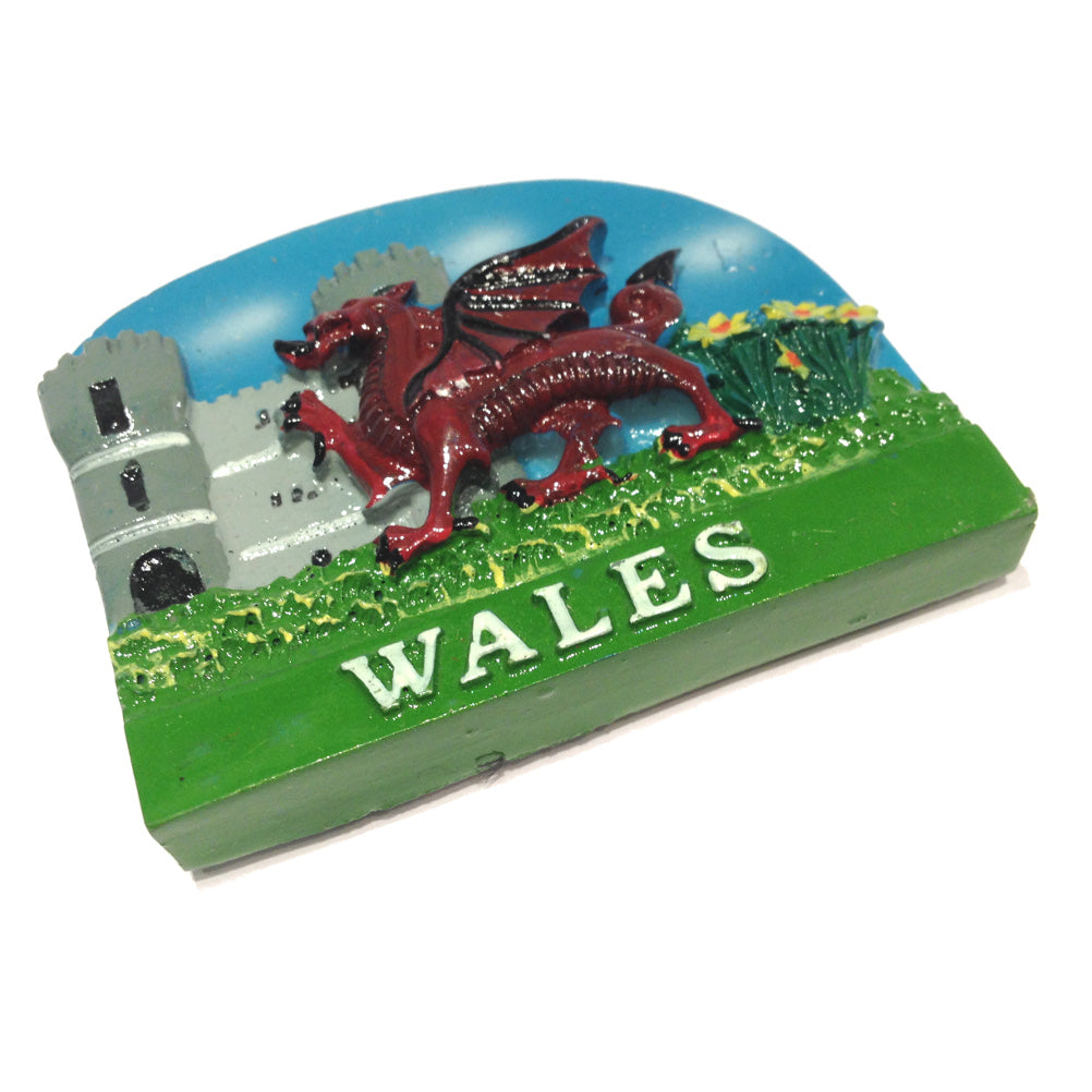 Bluesky Welsh Dragon Castle Fridge Magnet [otk]