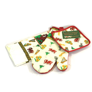Wales Welsh Dragon/Leek/Daffodil Kitchen Linen Set [wl98]