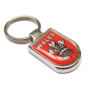 Wales Welsh Three Feathers Shield Metal Keyring