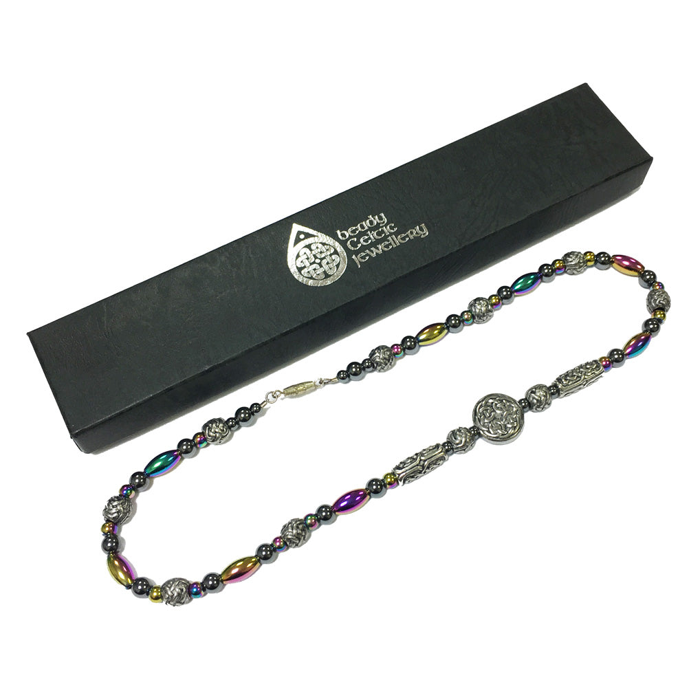 Beady Celtic RAINBOW HEMATITE Necklace