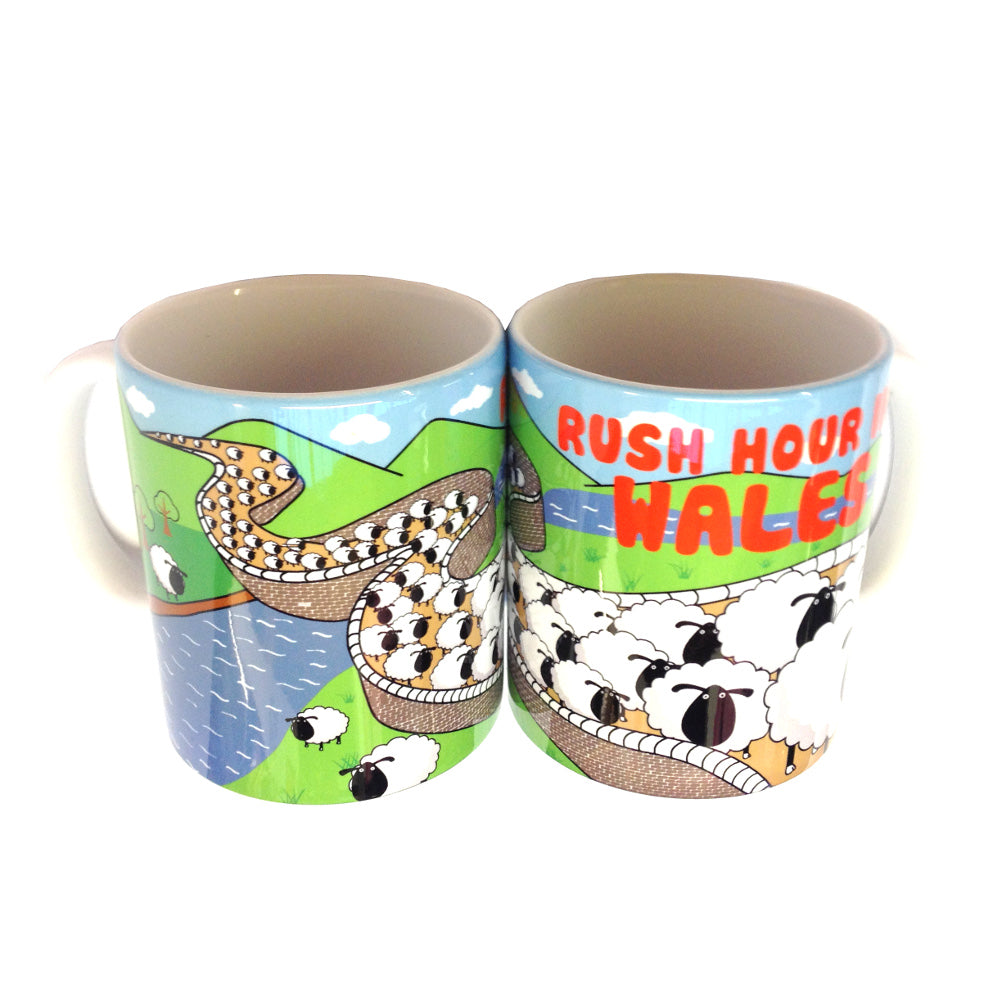 Rush Hour in Wales Sheep Ceramic Mug [wh168]