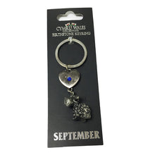 Pewter Wales Sheep Birthstone Keyring