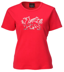 Ladies Sequin Welsh Dragon Red fitted T shirt top