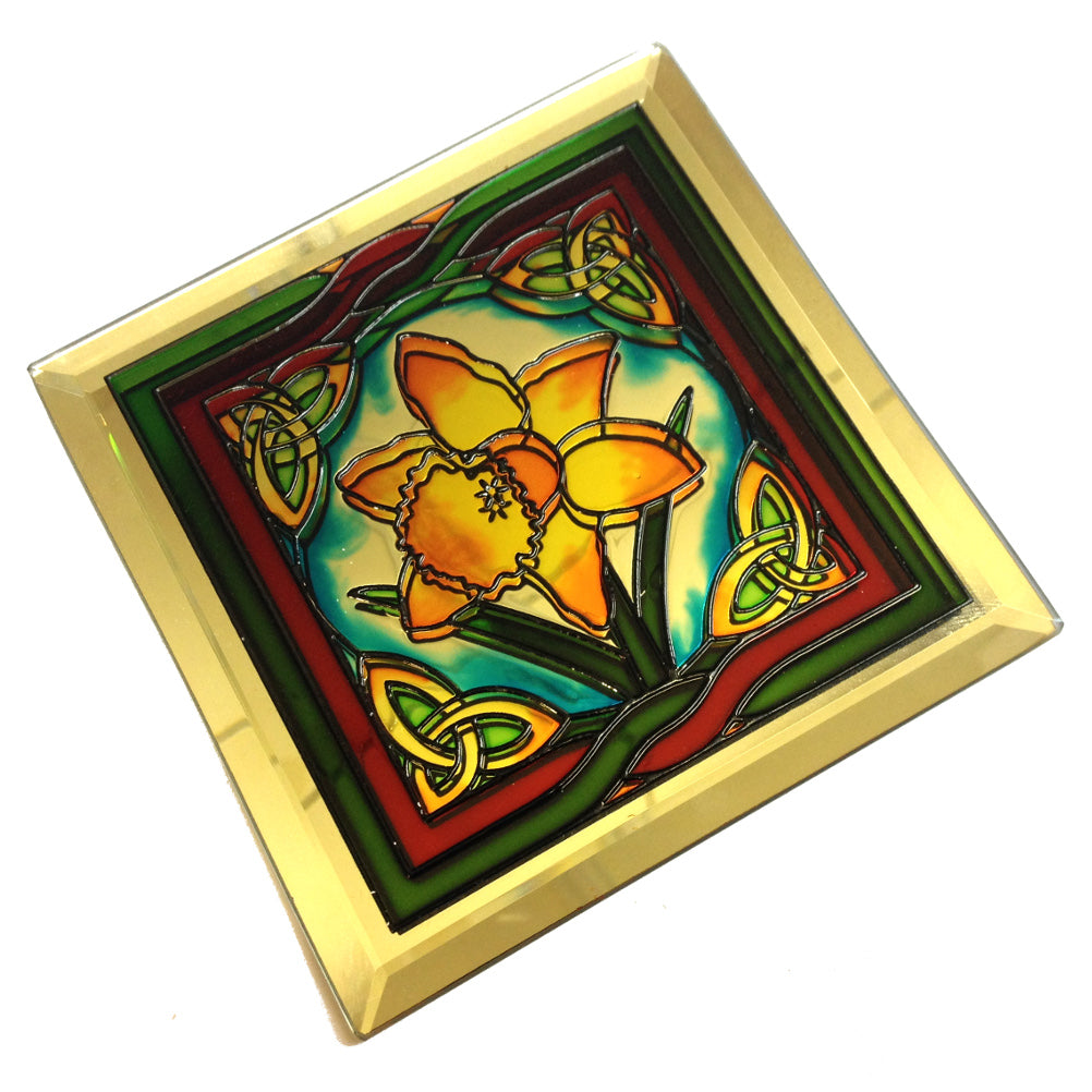 Celtic Welsh Daffodil Glass Mirror Coaster