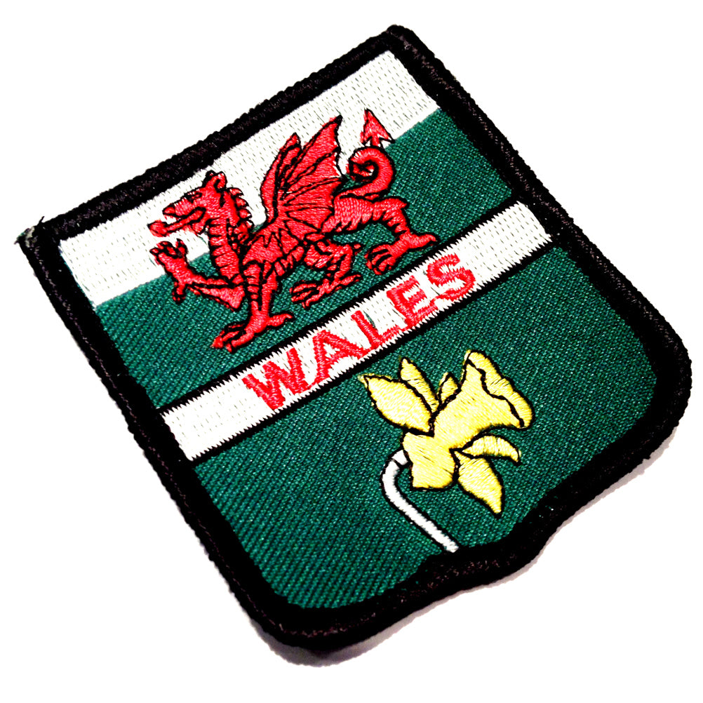 Wales Welsh Dragon and Daffodil Flag Embroidered Patch Badge